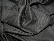 Embroidered Pinstripe Poly Lycra Dress Fabric  Black