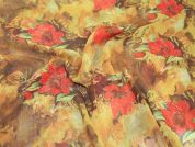 Floral Print Semi Sheer Polyester Dress Fabric  Red & Tan