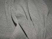 Check Polyester & Wool Blend Suiting Dress Fabric  Beige & Black