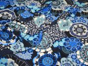 Stylised Floral Poly Soft Dress Fabric  Blue