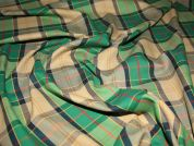 Check Polyester & Cotton Dress Fabric  Green & Navy Blue