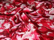 Tonal Floral Print Stretch Cotton Dress Fabric  Red & Pink