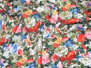 Summer Garden Floral Print Stretch Cotton Dress Fabric  Multicoloured