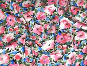 Floral Print Stretch Cotton Dress Fabric  Blue & Pink