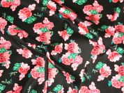 Floral Print Stretch Cotton Dress Fabric  Black, Pink & Green