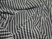 Woven Wool Heavy Coat Weight Fabric  Black & White