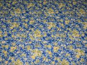Floral Print Vinyl PVC Coated Cotton Fabric  Blue & Yellow