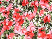 Floral Print Stretch Cotton Dress Fabric  Pink Coral Green
