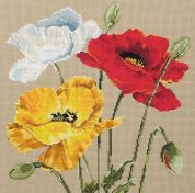 Maia Counted Cross Stitch Kit Poppy Trio