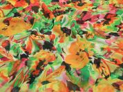 Floral Print Semi Sheer Polyester Dress Fabric  Multicoloured