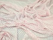 Spotty Stretch Mesh Dress Fabric  Brown & Baby Pink