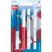Prym Chalk Pencils with Brush  White, Pink & Blue