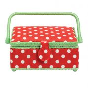 Prym Polka Dot Small Craft Storage Box  Red, White & Green