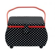Prym Polka Dot Large Craft Storage Box  Black White Red