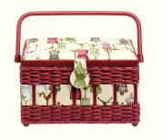 Prym Dressform Print Medium Sewing Basket  Beige & Red