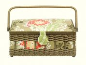 Prym Floral Print Medium Craft Storage Basket  Green & Red