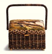Prym Safari Print Medium Craft Storage Basket  Dark Brown, Beige & Green