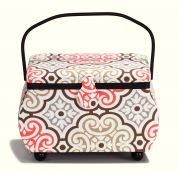 Prym Geometric Floral Print Large Craft Storage Basket  Gold, Red & White