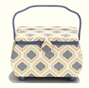 Prym Bohemian Print Large Craft Storage Basket  Gold, Blue & White