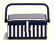 Prym Stripe Print Small Craft Storage Basket  Blue & White