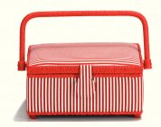 Prym Stripe Print Small Craft Storage Basket  Red & White