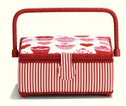 Prym Muffin & Hearts Print Craft Storage Basket  Red, White & Pink