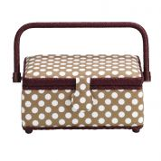 Prym Polka Dots Small Craft Storage Basket  Brown, White & Wine
