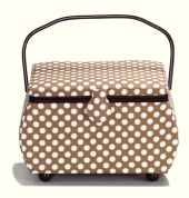 Prym Polka Dots Large Craft Storage Basket  Brown, White & Wine