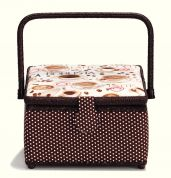 Prym Coffee Print Medium Craft Storage Basket  White, Cream & Dark Brown