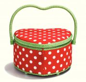 Prym Polka Dots Medium Craft Storage Basket  Red, White & Green