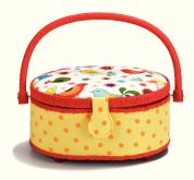 Prym Bird Print Kids Small Craft Storage Basket  Red, Yellow & White