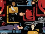 Camelot Fabrics Star Trek The Next Generation Quilting Fabric The Crew  Black
