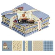 Gutermann Veros World Country Chic Cottage Quilting Fabric Fat Quarter Bundle  Blue & Cream