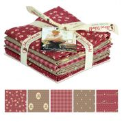 Gutermann Vero's World Country Chic Cottage Quilting Fabric Fat Quarter Bundle  Wine & Brown