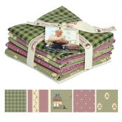 Gutermann Veros World Country Chic Cottage Quilting Fabric Fat Quarter Bundle  Green & Pink