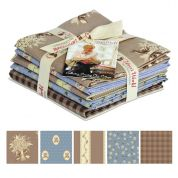 Gutermann Vero's World Country Chic Cottage Quilting Fabric Fat Quarter Bundle  Beige & Blue