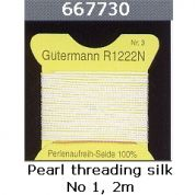 Gutermann Threading Silk for Jewellery Making 2m  Undyed Pearl