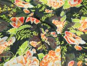 Floral Print Semi Sheer Polyester Dress Fabric  Green & Orange