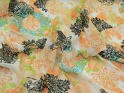 Decorative Print Chiffon Dress Fabric  Peach