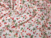Miniature Strawberry Print Cotton Poplin Fabric  Pink