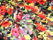 Floral Stretch Cotton Spanish Dress Fabric  Orange, Pink & Yellow