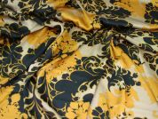Silky Satin Print Dress Fabric  Black, Gold