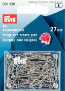 Prym Mild Steel Badge & Brooch Pins  Silver