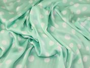 John Kaldor Spotty Print Satin Dress Fabric  Mint Green