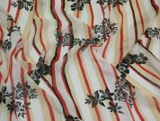 Floral Stripe Chiffon Dress Fabric  Black, White, Red & Beige