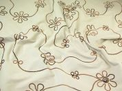 Floral Embroidered Stretch Needlecord Dress Fabric  Cream & Brown