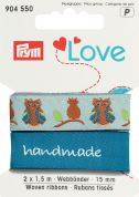 15mm Prym Love Woven Owl Ribbon 3m  Blue