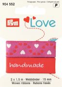 15mm Prym Love Woven Heart Ribbon 3m  Red