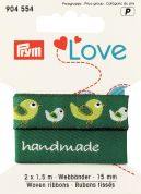 15mm Prym Love Woven Bird Ribbon 3m  Green