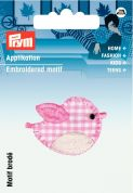 Prym Iron On Embroidered Motif Applique Pink Gingham Bird